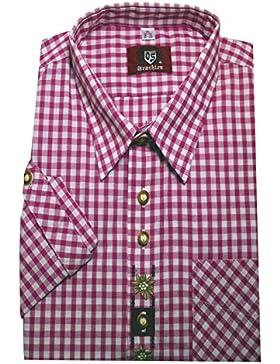 Trachten Hemd pink / rot ton weiß kariert mit Stickerei Krempelarm Orbis 0105 bequemer Schnitt M bis 5XL