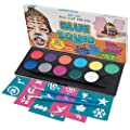 Blue Squid Face Paint Kit for Kids! | 12 Colours, 30 Stencils, 2 Brushes | Best Value Face Painting Set in Strong Cosmetics Case | Quality Vibrant Water Based Safe Non-Toxic Vegan | +BONUS Free Online Tutorial from Blue Squid