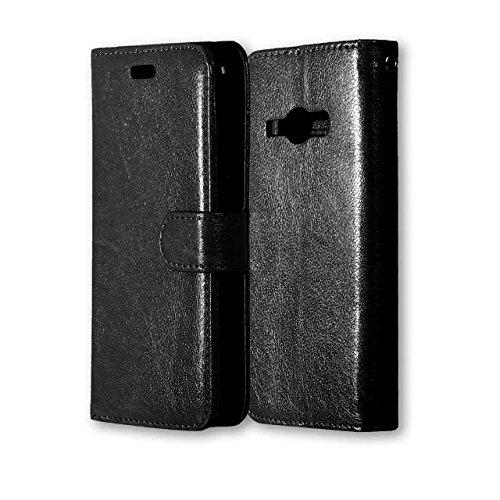 Wkae Case Cover Solide étui en cuir couleur PU avec couvercle Silicone Cover Case Magnetic Béquille pour Samsung J1 2016 J120 J16 by DIEBELLEU ( Color : Black , Size : Samsung J1 2016 J120 J16 ) Black