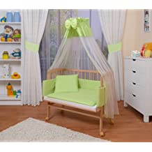 WALDIN Baby Beistellbett komplett mit Ausstattung, höhen-verstellbar, Buche Massiv-Holz natur unbehandelt,8 Farben wählbar
