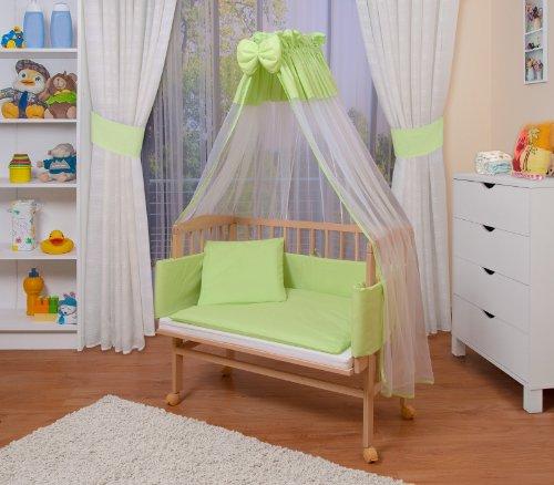 WALDIN Baby Beistellbett komplett mit Ausstattung, höhen-verstellbar, Buche -