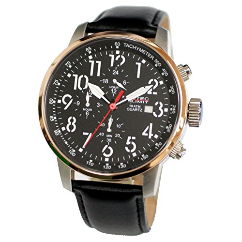 Nautec No Limit men's Quartz Watch Analogue Display and Leather Strap AIRTR-QZ-LTRG-BK