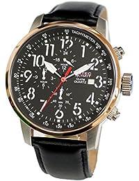 No limit Nautec hombre-reloj analógico de cuarzo cuero Air Traveller AIRTR-QZ-LTRG-BK