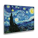 - Quadro - Stampa su Tela Canvas - Vincent Van Gogh - Notte Stellata - 50 X 70 Cm