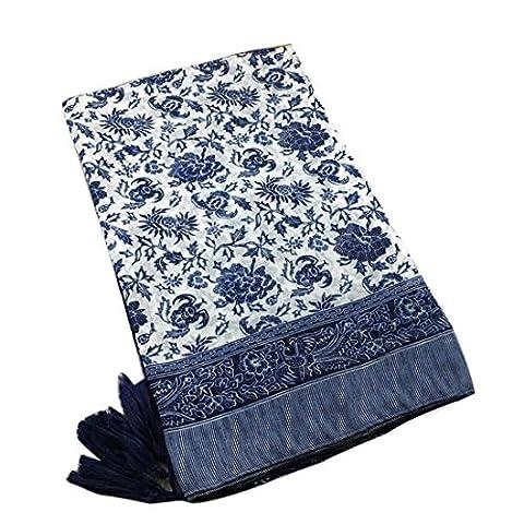 Kolylong Beach Cover Up Boho Summer Bathing Suit Kimono Tunic (Blue)
