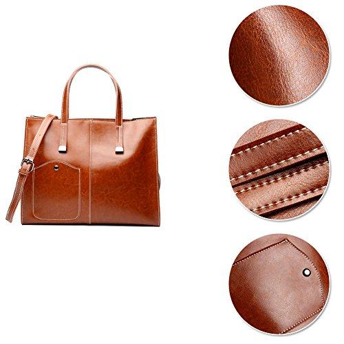 Borsa a tracolla per messenger borsa a tracolla con tracolla in vera pelle da donna Marrone