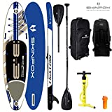 SKINFOX Seahorse aufblasbares 4-lagiges Inflatable SUP Paddelboard Stand Up NEUESTE SUP Generation 4 TECH L-CORE (335x78x15/Tragkraft 175 kg) Carbon-Set blau (Board,Bag,Pumpe+Carbon Paddel)