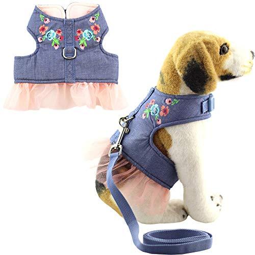 Bolbove Weiche Jeans Pet Lovely Flower Lace Geschirr Leine Set Katzen Hunde Blau, Medium, Blau (Kostüm Halloween Soft Kitty)