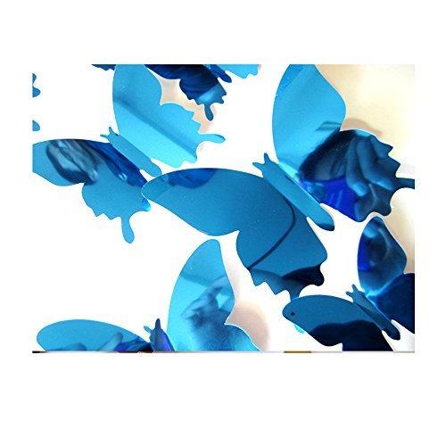 Ufengke® 12 Piezas Mariposas 3D Espejo Pegatinas de Pared Diseño de Moda Mariposa Bricolaje Calcomanías...