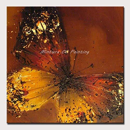 DACEHome Peinture À L'Huile sur Toile,Série Papillons Colorés, Rouge Jaune, Noir Couteau Épais Peinture, Lucky, Libre, Animal Décoration Salon Studio
