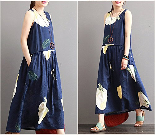 sommer gedruckten ärmellose ärmellose kleid m blue