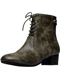 TAOFFEN Damen Klassischer Schnurung Martin Boots Absatz Kurzschaft Stiefel Booties