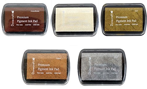Earthtone-set (Set of 5 DOVECRAFT PIGMENT INK PADS Rubber stamping BASIC EARTHTONES and metallics by Dovecraft)