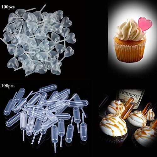 Transfer Pipette, goodchanceuk 200Stück Einweg Squeeze Dropper 4ml Herz und rechteckiger je 100Für Schokolade, Muffins, Erdbeeren - 4 Ml Eye