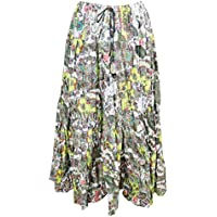 Mogul Interior Womens Peasant Skirt Summer Love Green Printed Crinkle Gypsy Maxi Skirt L