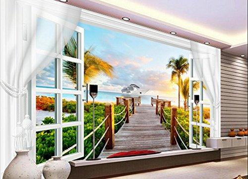 Yosot Benutzerdefinierte Tapete Große Wandbild Wohnzimmer Landschaft 3D Fenster Vorhang Kokospalme Palm Hintergrund Wand-350Cmx245Cm
