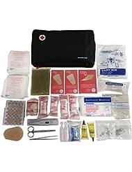 Botiquín de primeros auxilios PREMIUM con 120 artículos (termómetro digital, povidona iodada, bolsa de frío, suero fisiológico, manta isotérmica,...)