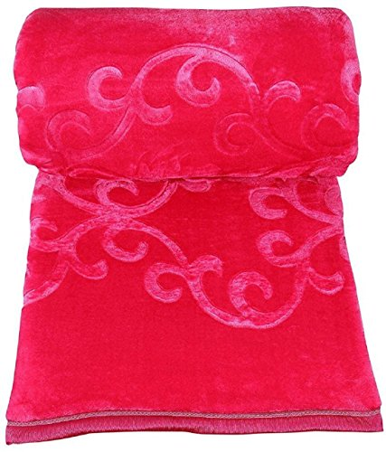 India Get Shopping Embossed Design Soft Mink Double Blanket - Baby Pink