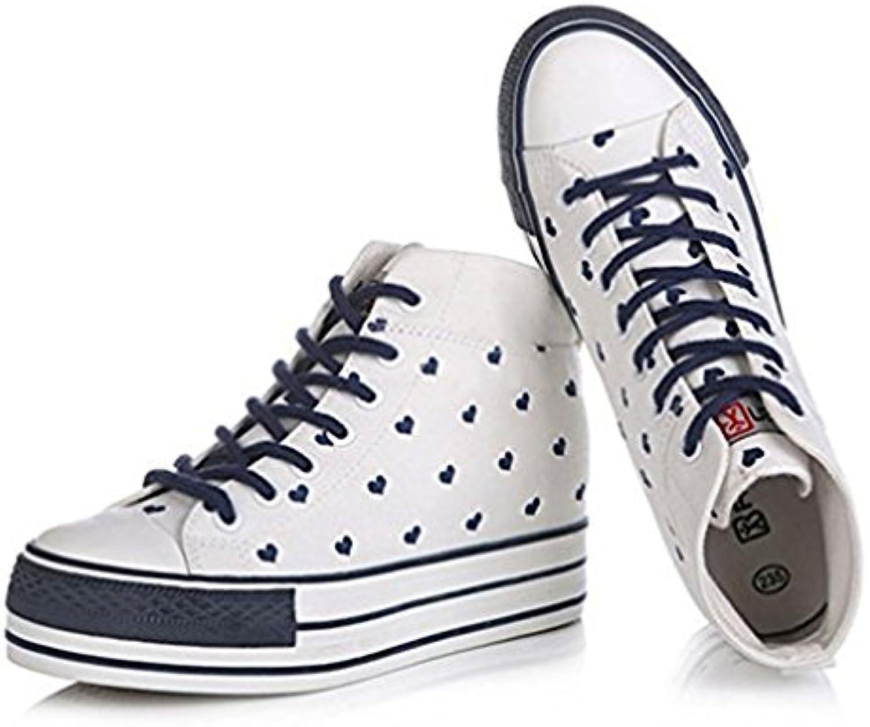 Gugutogo RENBEN Canvas Freizeitschuhe 3875 Frauen High Upper Loafer Weibliche Schuhe für die Dame (Farbe: Weißö