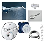 vanvilla Dusch-Set Unterputz Armatur Grohe SmartControl Thermostat Regenduschkopf 54x22 cm poliert mit Schwall Set G08