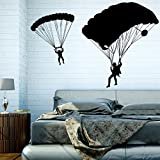 Parapente - Sticker Mural Noir 38 x 25 cm (Muraux Décoration Murale Stickers Wall Decal Autocollants Salon Chambre d'enfants Nursery Made in Germany)