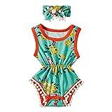 chicolife Mädchen Kleidung Sets, Set Neugeborenes Mädchen Retro-Pomp Bowknot Kleidung Floral Body Strampler Overall Outfit, grün und Orange