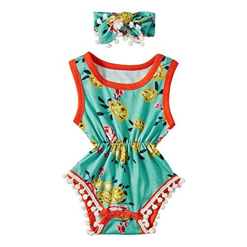 Chicolife Romper Anzüge Babymädchen, Neugeborenes Baby Mädchen Retro-Pomp Bowknot Kleidung Floral Body Strampler Overall Outfit Set Grün und Orange (Floral Anzug)