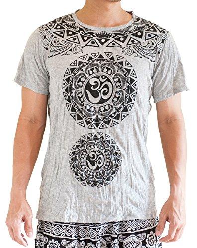 BohoHill Herren T-Shirt Original Tribal Mandalas Om Shanti Yoga Grau Large grau - Aztec-herren Shirt