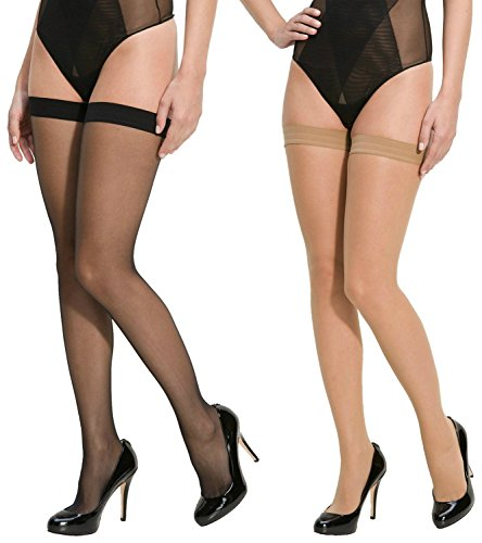 Lady Heart Anfanna Sheer Panty Hose / Long Stockings ( Pack of 2 - BLACK + SKIN )