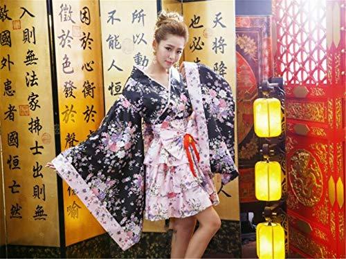 Cosplay Anime Kostüm Kirschblüte Muster Kimono Maid Tragen Lolita LO Kleidung Prinzessin Kleid 90% Polyester Rosa S/M/L/XL/XXL Aaron Kleid