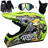 TKUI Motos Motocross Cascos y Guantes y Gafas estándar para niños ATV Quad Bicicleta go Casco de Kart,L(56~57cm)