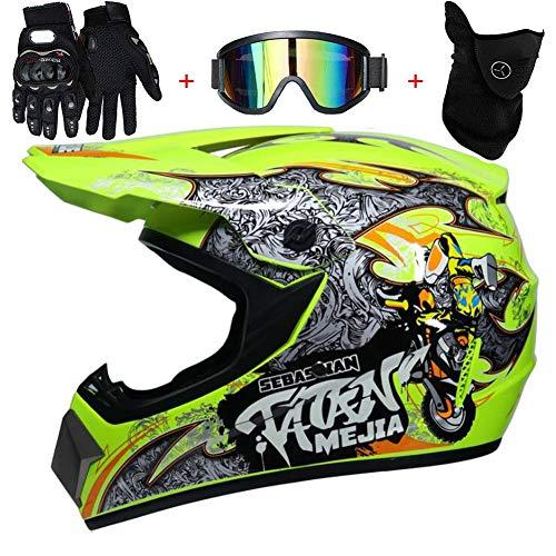 TKUI Moto Motocross Casques, Gants et Lunettes Dot Standard Enfants Quad Bike VTT Go Karting...