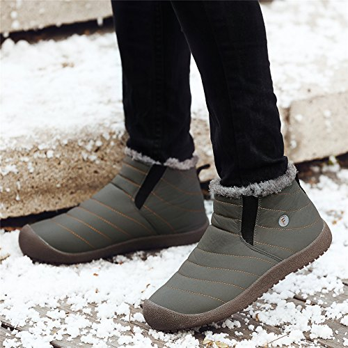 Schuhchan Schneestiefel Warm Gefütterte Winterschuhe Stiefelette Outdoor Winterstiefel Boots für Damen Herren Grün-04