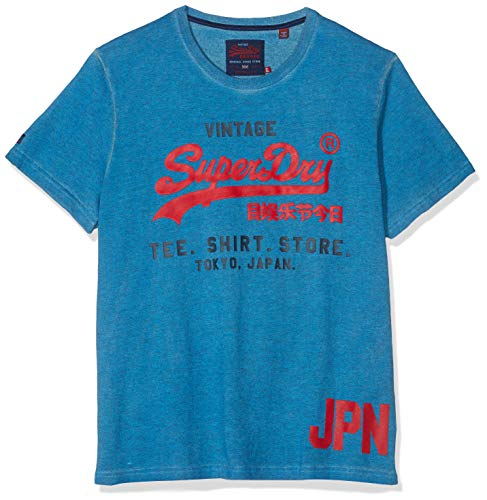 Superdry Herren Shirt Shop Duo Tee Pullunder, Blau (Nue Wave Blue D1V), X-Large