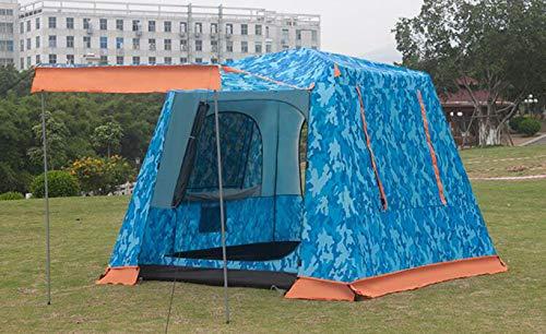 QQT Campingzelt Doppelschicht Familienzelt Im Freien Gegen Großen Regen Wasserdicht Und UV-Schutz Mit Verdicken Stoff,BeigeBlue