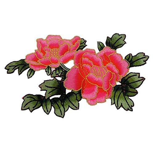 Fiori Peonia con foglie verde scuro Ricamato appliques cucire ferro sulle patch Rose