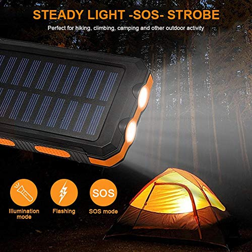 Solar Power Financial institution, Zowam 20000mlAh Portable Solar Phone Charger External Backup Solar Panel with Dual USB Ports Outdoor LED Flashlight and Compass Image 8