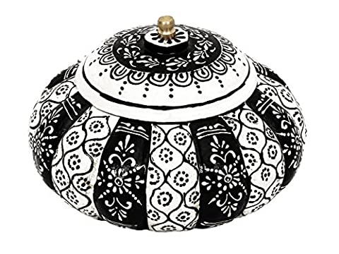 Store Indya Hand Painted Wooden Small Round Keepsake Storage Box Multipurpose Trinket Jewellery Accessories Holder Organiser Traditional Home Dresser Decor