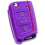 E-Senior Silicona Funda para llave de coche (compatible con SEAT Leon 5F, SC, St, Volkswagen Golf 7 GTI VW Golf MK7 VII) (violeta)
