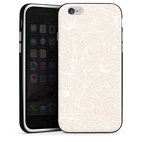 Apple iPhone 4 Silikon Hülle Case Schutzhülle Spitze Muster Blumen Silikon Case schwarz / weiß