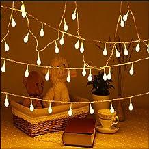 Uping Guirnalda luminosa decorativa de 100 bombillas redondas 12 m Cadena de luces Blanco cálido con Clavija de Transformador integrado de baja tensión DC 31V Perfecto para Navidad Fiestas Bodas Jardín Uso exterior e interior