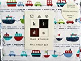Max Studio 4 Piece Full Sheet Set Nautical Pattern Boats Fish Cars on White Background