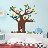 Malilove Live Mit Niedlichen Eulen Kaninchen Wand Aufkleber Dekoration Home Aufkleber Tiere Wandbild Kunstdruck Cartoon Baum Poster Schälen Und Stick