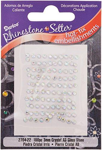 Setter strass Hot-Fix abbellimenti 3mm pietra di vetro 100/Pkg-Crystal AB - Vetro Abbellimenti