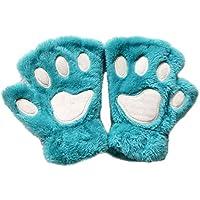 Junlinto Women Girls Lovely Cat Garra de Garra Thick Half Fingerless Gloves Fluffy Felpa Felpa-Light Blue