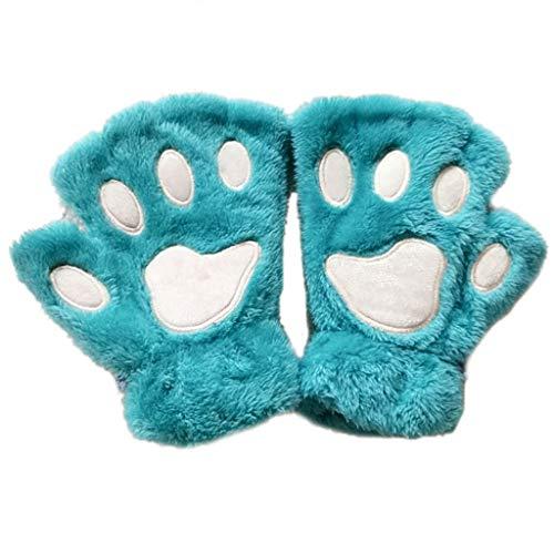 Exing Handschuhe Damen Winter,Frauen Mädchen schöne Katze Paw Klaue dicke halbe fingerlose Handschuhe flauschigen Plüsch Handschuh (LB) (Schwarze Klaue Motorrad Handschuhe)