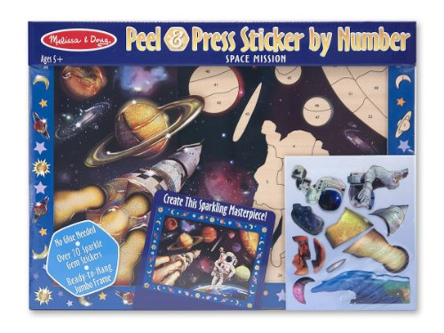3x Melissa and Doug Peel and Press Sticker By Number Space Mission