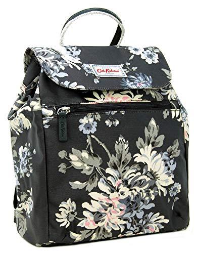 Cath Kidston Handtaschen-Rucksack mit York-Blumen-Motiv, Wachstuch, Anthrazit/Schwarz