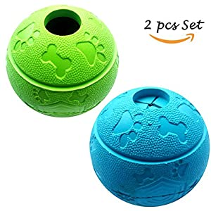 Feixun-Pets-Dog-Treat-Toy-Ball-Dog-Rubber-Food-Ball-Interactive-Dog-Toy-Pack-of-21Blue1Green-81cm