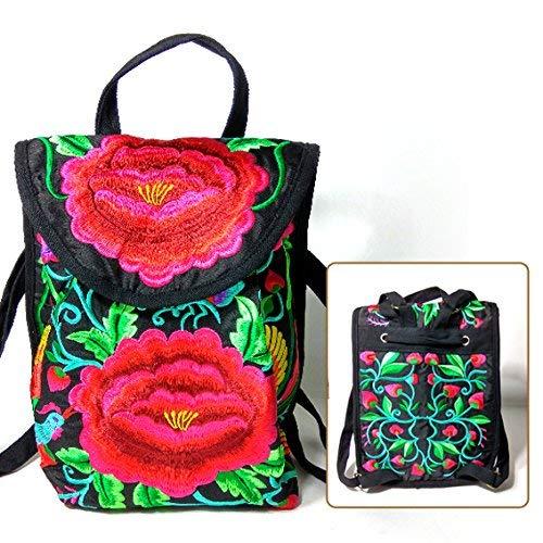 MARCU Home Mädchen BISSER Yunnan National Wind Bag Gestickte Umhängetasche Student Travel Bag Canvas Bag Handtasche klein, rote Blume - Canvas Gestickte Handtasche